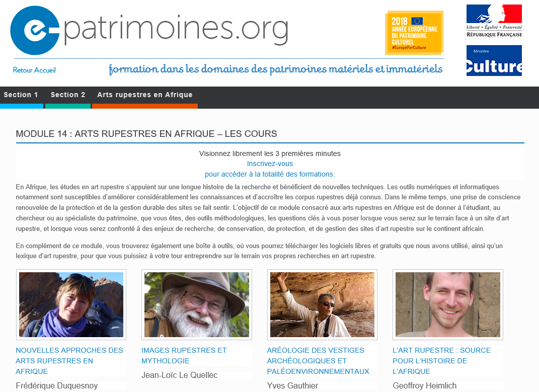 E.patrimoines online free classes heritage ICOMOS African Rock Art