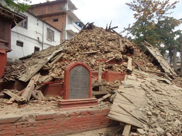 Collapsed temple at Hanuman Dhoka copyright Kai Weise
